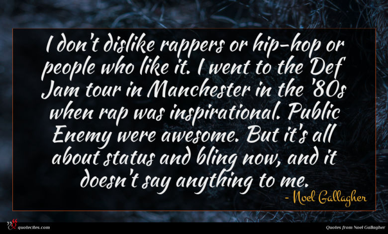 I don't dislike rappers or hip-hop or people who like it. I went to the Def Jam tour in Manchester in the '80s when rap was inspirational. Public Enemy were awesome. But it's all about status and bling now, and it doesn't say anything to me.