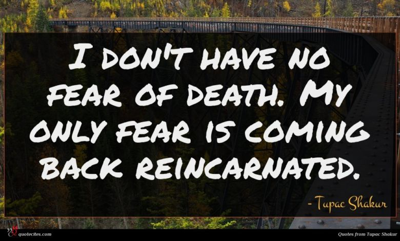 I don't have no fear of death. My only fear is coming back reincarnated.
