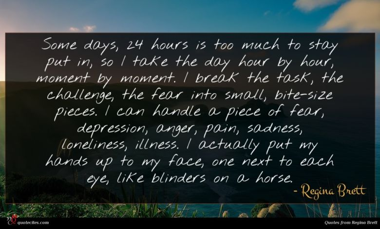 Some days, 24 hours is too much to stay put in, so I take the day hour by hour, moment by moment. I break the task, the challenge, the fear into small, bite-size pieces. I can handle a piece of fear, depression, anger, pain, sadness, loneliness, illness. I actually put my hands up to my face, one next to each eye, like blinders on a horse.
