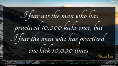 Photo of Bruce Lee quote : I fear not the …
