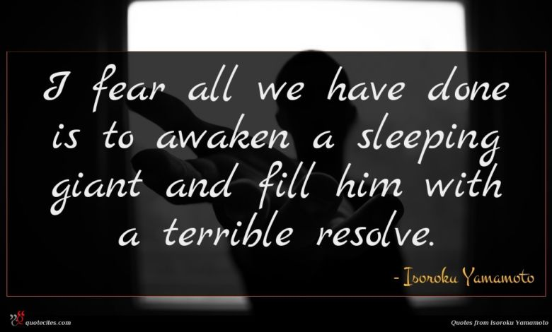 I fear all we have done is to awaken a sleeping giant and fill him with a terrible resolve.