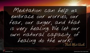 Thich Nhat Hanh quote : Meditation can help us ...