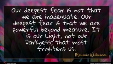 Photo of Marianne Williamson quote : Our deepest fear is …