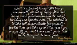 Maya Angelou quote : What is a fear ...