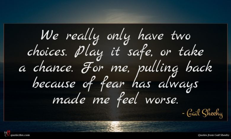 We really only have two choices. Play it safe, or take a chance. For me, pulling back because of fear has always made me feel worse.