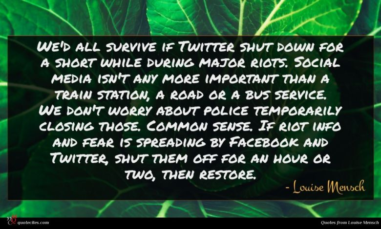 We'd all survive if Twitter shut down for a short while during major riots. Social media isn't any more important than a train station, a road or a bus service. We don't worry about police temporarily closing those. Common sense. If riot info and fear is spreading by Facebook and Twitter, shut them off for an hour or two, then restore.