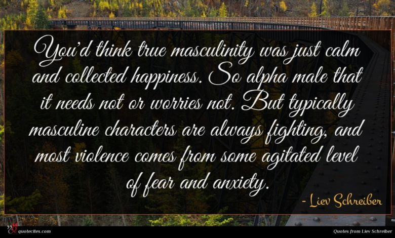 You'd think true masculinity was just calm and collected happiness. So alpha male that it needs not or worries not. But typically masculine characters are always fighting, and most violence comes from some agitated level of fear and anxiety.