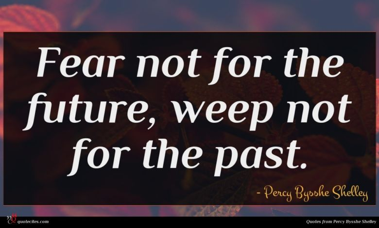Fear not for the future, weep not for the past.
