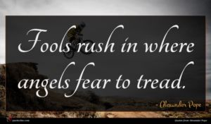 Alexander Pope quote : Fools rush in where ...