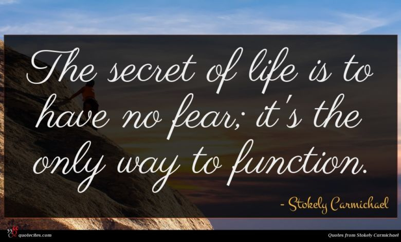 The secret of life is to have no fear; it's the only way to function.