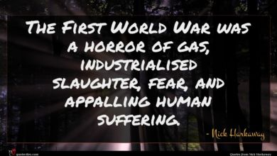 Photo of Nick Harkaway quote : The First World War …