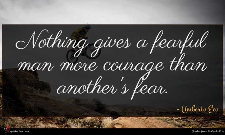 Nothing gives a fearful man more courage than another's fear.