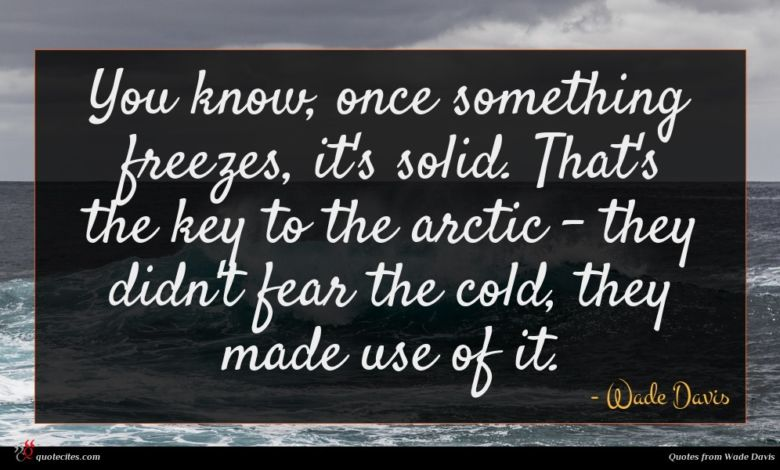 You know, once something freezes, it's solid. That's the key to the arctic - they didn't fear the cold, they made use of it.