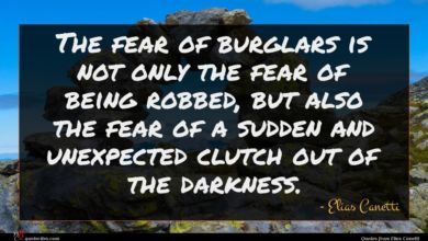Photo of Elias Canetti quote : The fear of burglars …