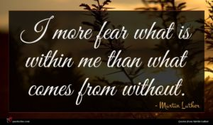 Martin Luther quote : I more fear what ...