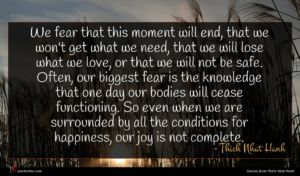 Thich Nhat Hanh quote : We fear that this ...