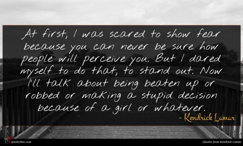 At first, I was scared to show fear because you can never be sure how people will perceive you. But I dared myself to do that, to stand out. Now I'll talk about being beaten up or robbed or making a stupid decision because of a girl or whatever.