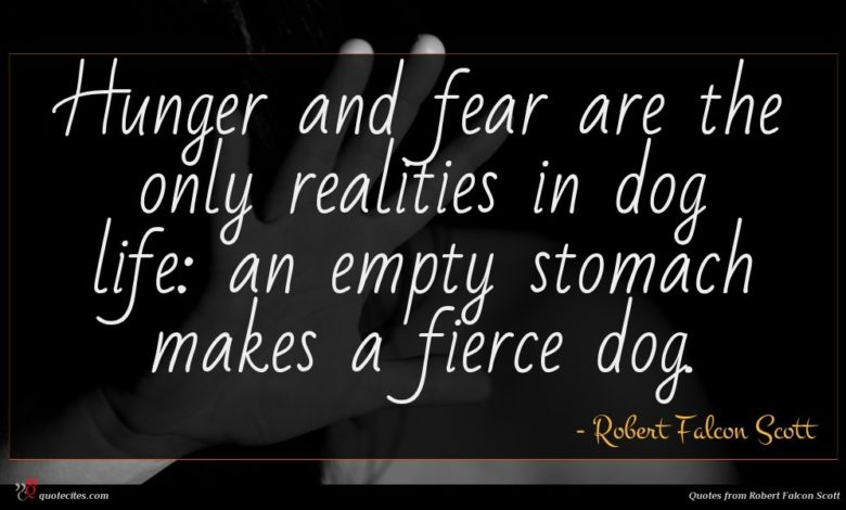 Hunger and fear are the only realities in dog life: an empty stomach makes a fierce dog.