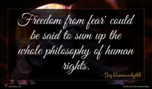 Dag Hammarskjöld quote : Freedom from fear' could ...