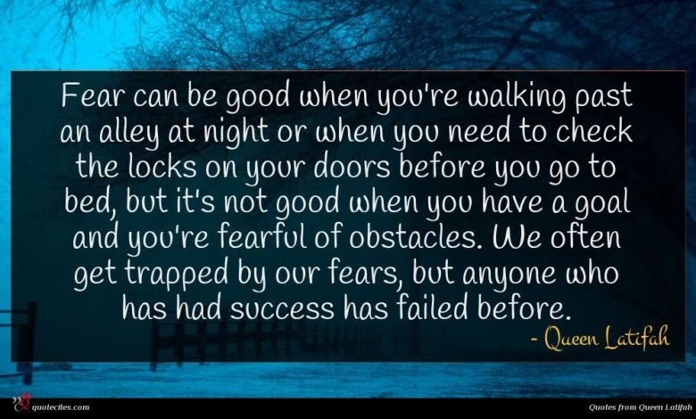 Fear can be good when you're walking past an alley at night or when you need to check the locks on your doors before you go to bed, but it's not good when you have a goal and you're fearful of obstacles. We often get trapped by our fears, but anyone who has had success has failed before.