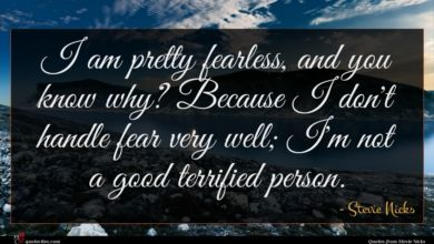 Photo of Stevie Nicks quote : I am pretty fearless …