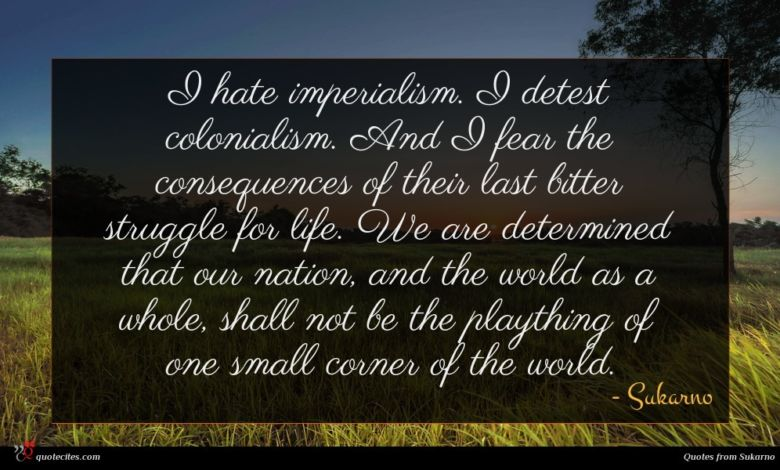 I hate imperialism. I detest colonialism. And I fear the consequences of their last bitter struggle for life. We are determined that our nation, and the world as a whole, shall not be the plaything of one small corner of the world.
