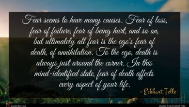 Photo of Eckhart Tolle quote : Fear seems to have …