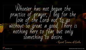 Saint Teresa of Avila quote : Whoever has not begun ...