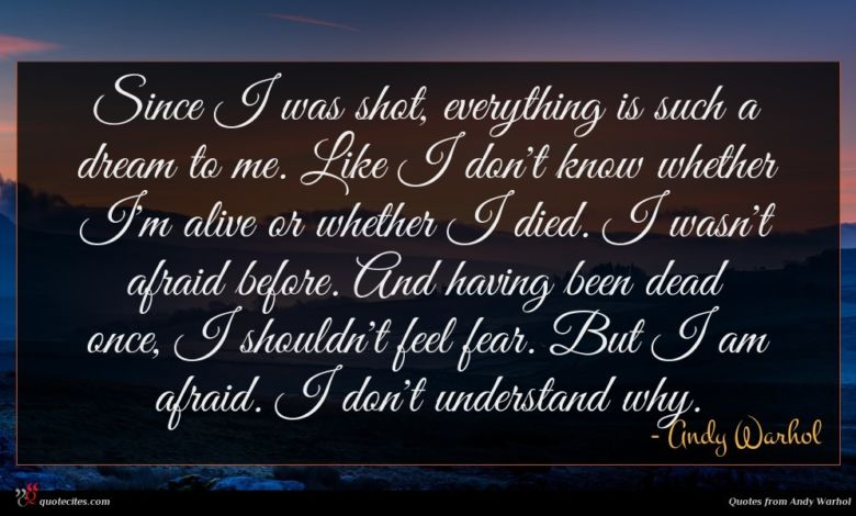 Since I was shot, everything is such a dream to me. Like I don't know whether I'm alive or whether I died. I wasn't afraid before. And having been dead once, I shouldn't feel fear. But I am afraid. I don't understand why.