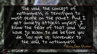 Photo of Harry Dean Stanton quote : The void the concept …