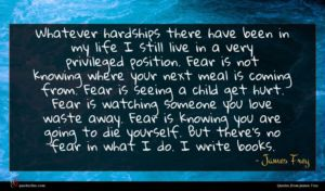 James Frey quote : Whatever hardships there have ...