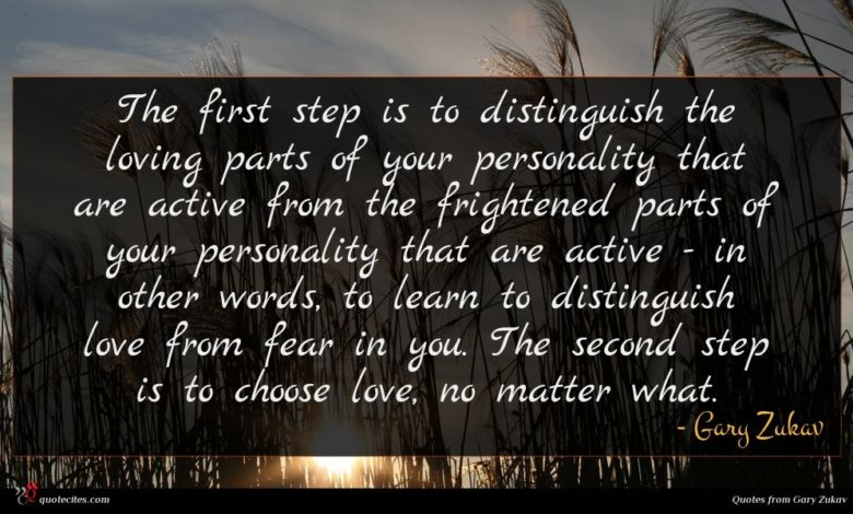 The first step is to distinguish the loving parts of your personality that are active from the frightened parts of your personality that are active - in other words, to learn to distinguish love from fear in you. The second step is to choose love, no matter what.
