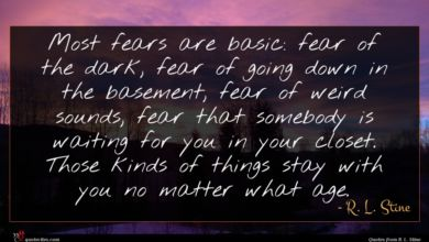 Photo of R. L. Stine quote : Most fears are basic …