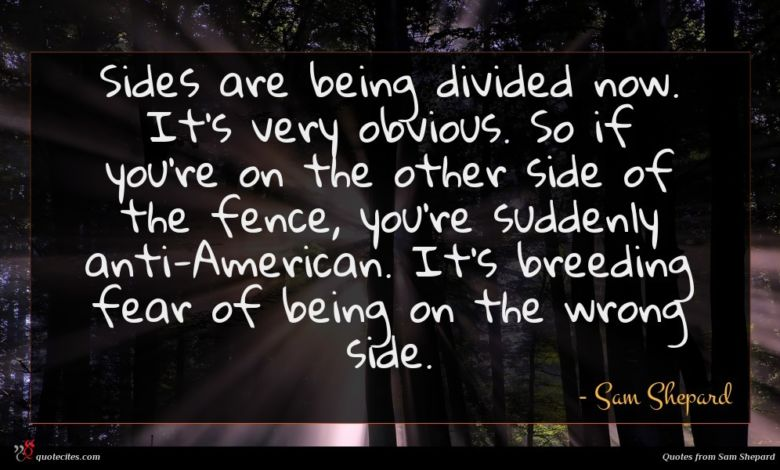 Sides are being divided now. It's very obvious. So if you're on the other side of the fence, you're suddenly anti-American. It's breeding fear of being on the wrong side.