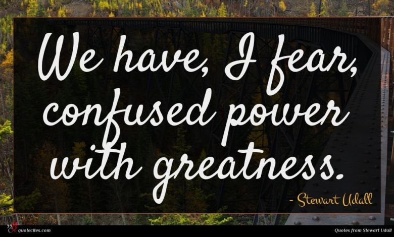 We have, I fear, confused power with greatness.