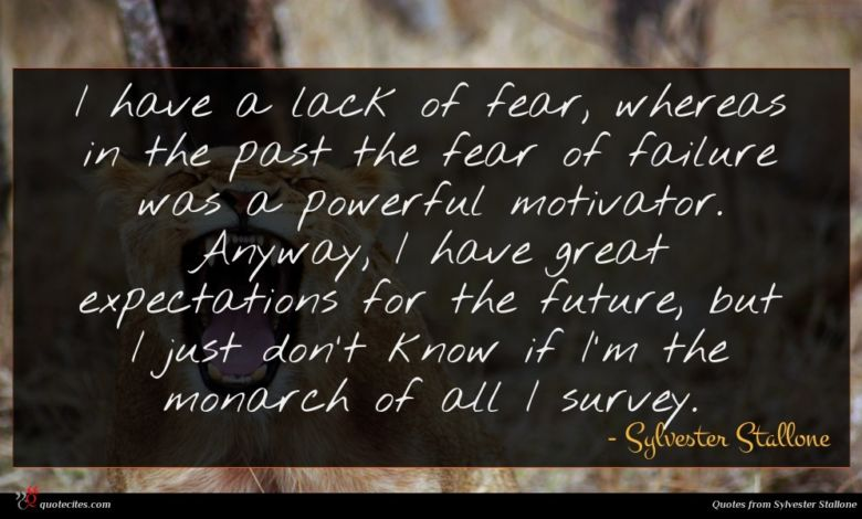 I have a lack of fear, whereas in the past the fear of failure was a powerful motivator. Anyway, I have great expectations for the future, but I just don't know if I'm the monarch of all I survey.