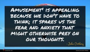 John Ortberg quote : Amusement' is appealing because ...