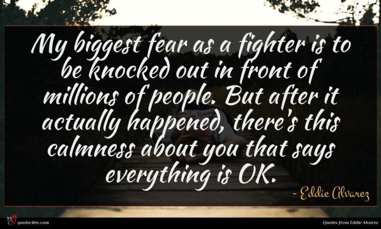 My biggest fear as a fighter is to be knocked out in front of millions of people. But after it actually happened, there's this calmness about you that says everything is OK.