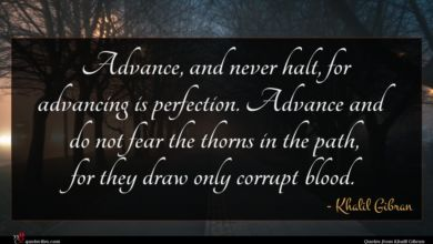 Photo of Khalil Gibran quote : Advance and never halt …
