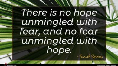 Photo of Baruch Spinoza quote : There is no hope …