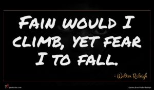 Walter Raleigh quote : Fain would I climb ...