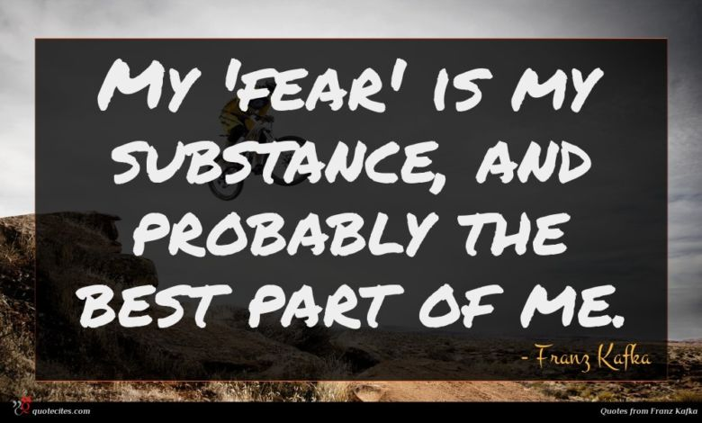 My 'fear' is my substance, and probably the best part of me.