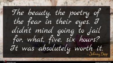 Photo of Johnny Depp quote : The beauty the poetry …