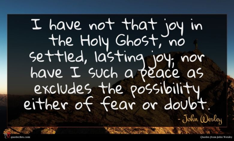 I have not that joy in the Holy Ghost, no settled, lasting joy; nor have I such a peace as excludes the possibility either of fear or doubt.