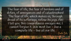Émile Zola quote : The fear of life ...