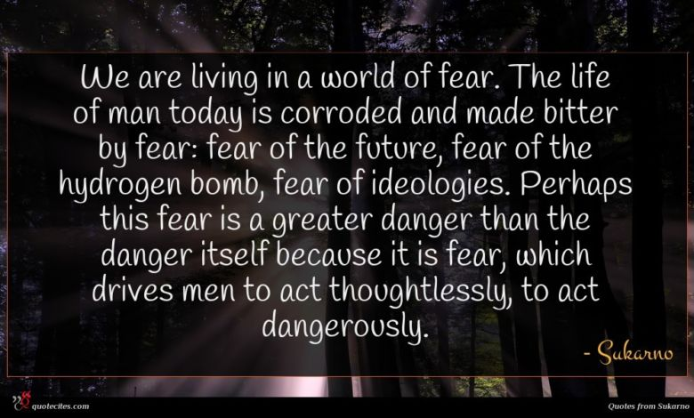 We are living in a world of fear. The life of man today is corroded and made bitter by fear: fear of the future, fear of the hydrogen bomb, fear of ideologies. Perhaps this fear is a greater danger than the danger itself because it is fear, which drives men to act thoughtlessly, to act dangerously.