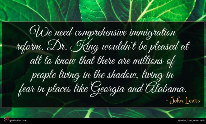 We need comprehensive immigration reform. Dr. King wouldn't be pleased at all to know that there are millions of people living in the shadow, living in fear in places like Georgia and Alabama.