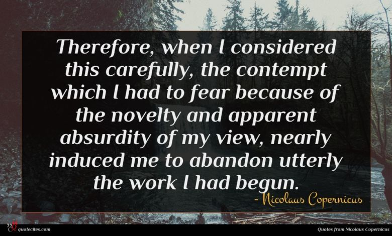 Therefore, when I considered this carefully, the contempt which I had to fear because of the novelty and apparent absurdity of my view, nearly induced me to abandon utterly the work I had begun.