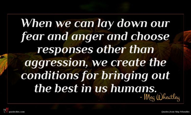 When we can lay down our fear and anger and choose responses other than aggression, we create the conditions for bringing out the best in us humans.