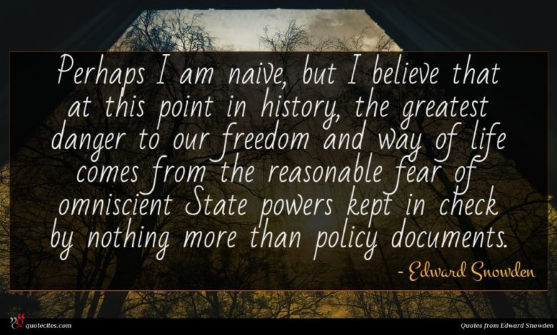 Perhaps I am naive, but I believe that at this point in history, the greatest danger to our freedom and way of life comes from the reasonable fear of omniscient State powers kept in check by nothing more than policy documents.